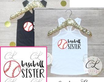 Girls Baseball Sister Shirt /  Baseball Sister Tank Top Little Sister Biggest Fan T-Shirt Baseball Sister Outfit Team Pride Shirt Baby 214