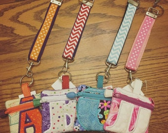 Zippered Initial Pouches with Key Fob