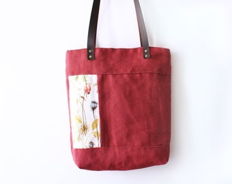 Tote bag with botanical pattern detail, linnen fabric