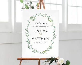 Modern Botanical Printable Welcome Sign Poster - Wedding Welcome Sign - Wedding Reception Sign Printable Wedding Signs  - (Item code: P276)