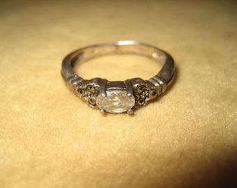 Sterling Marcasite CZ Ring 7 3/4 Vintage