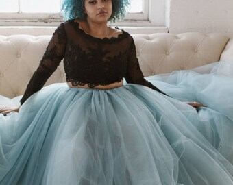 Floor length tulle skirt, grey-blue tulle skirt, adult tulle skirt, tulle wedding dress, photo prop