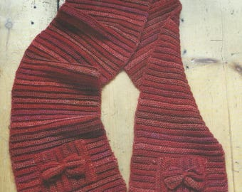 Crochet Scarf with Bow Pockets PDF Crochet Pattern Instant Download
