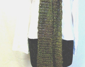 Scarf Green and Brown 110x5 Inches Extra Long Chunky Neckscarf Mans Womans Handmade Crochet knit Steampunk Oversize Unique  Catwalk Trending