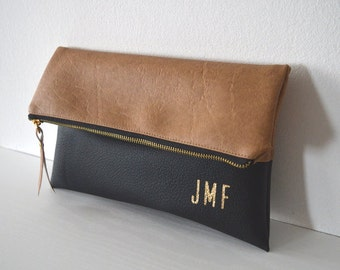 Colorblock Clutch, Monogram Clutch Purse, Evening Clutch Bag, Bridesmaid Gift, Wedding Accessory, Gold Inprinted Bag