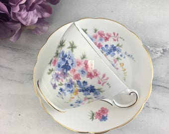 Sweet Pink and Blue Daisies by Regency Teacup and Saucer Set Vintage Fine Bone China England Made