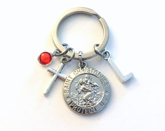St Christopher Keyring, Saint Chris Medallion Keychain, Gift for New Driver Key Chain, Patron Saint of Safe Travel Present License Traveller
