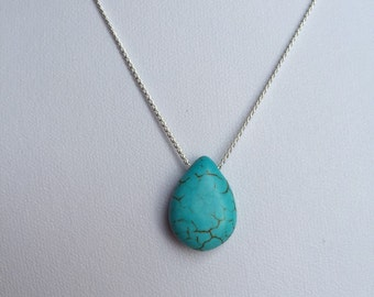 Turquoise Necklace, december birthstone, Turquoise Pendant, stone necklace, modern bohemian, layering necklace