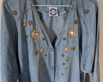 80s 90s Denim Lightweight Jacket with Gold Stars/Sun studs and embroidery Embellished button-front size Large/Extra large, 14 Long Sleeved