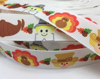 "3 yards 7/8"" Thanksgiving Turkey Gourd grosgrain ribbon"