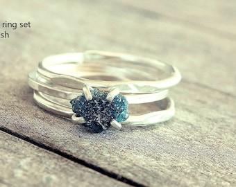 Raw diamond ring, Blue diamond ring, Raw stone ring, rough diamond ring, rough stone ring, raw diamond engagement ring, promise ring