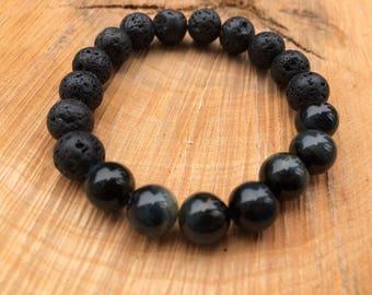 8mm Lava Rock and Blue Tiger Eye bracelet, Blue Tiger Eye Gemstone Bead Bracelet, Blue Tiger Eye, Stretchy Bracelet, Tiger eye bracelet,
