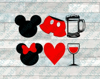 Mickey and Minnie Food and Wine SVG, DXF, EPS, Studio 3, Png