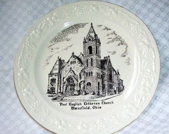 Vintage First English Lutheran Church Mansfield, Ohio, Collectors Plate, Cabinet Plate, 1832-1950, Missionary, Settlers 1832