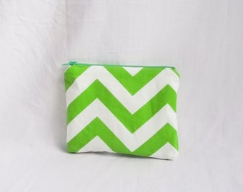 Green Makeup bag - Personalized Chevron Pouch - Chartreuse Cosmetic Bag - Bridesmaid clutches - Small