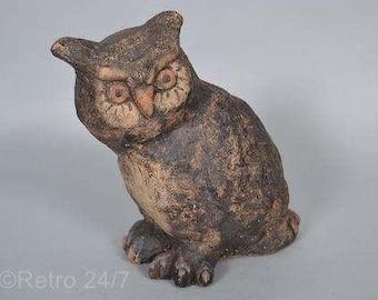 SALE!  . Tina & Thorsten Behrendt Worpswede pottery owl marked TT80