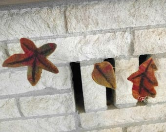 Wet Felted Fall Leaves Garland