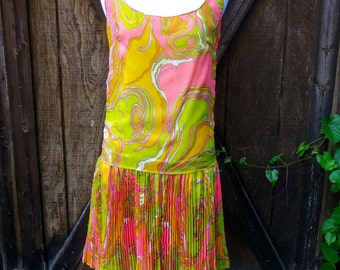 Vintage 60s Flapper Style Swirl Dress, X-Small/Small