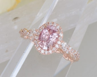 Padparadscha Color Sapphire in Diamond Halo Rope Inspired Ring