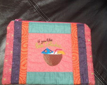 Handmade quilted zipped bag for holiday, Pina Colada design