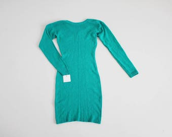 RESERVED ITEM! teal sweater dress | silk and Angora dress | teal green dress
