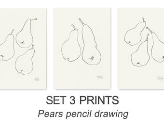 Pears Set of 3 PRINTS - line drawing afer pears - Modern Minimal wall art pencil drawing of fruits by Catalina S.A