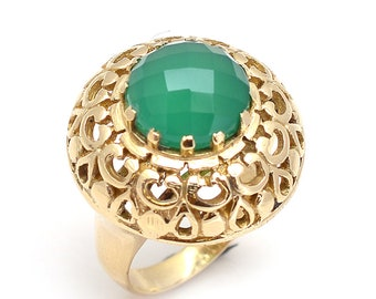 Green onyx brass ring size 9 us
