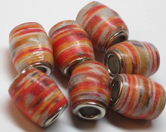 Paper beads- Paper bead jewelry- Recycled paper beads- Loose paper beads- Jewelry supplies- Beading supplies- Paper Beads with Bead cores