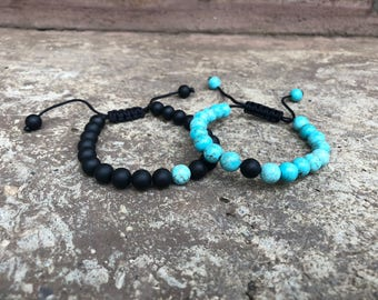 ADJUSTABLE Turquoise Distance Bracelets Set - Turquoise & Black Matching Pair - Long Distance - For Friendships/relationships/couples