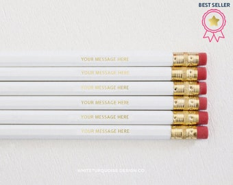 Personalized Pencils, Custom Pencils, Gold Foil Pencils, Quote Pencils, White Pencils, Wedding Favors, Branding, Teacher Gifts, Best Sellers