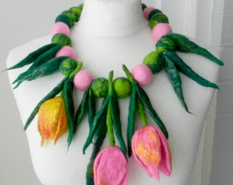 felted Flower, Hand Felted, Wool Jewelry felted scarf/ necklace/