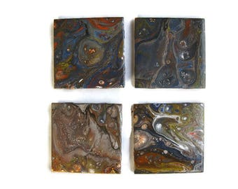 Abstract Acrylic Art Pour Ceramic Coasters Set of 4 (C2)