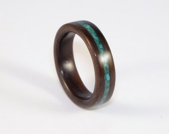 Ebony Bent Wood Ring with a Turquoise Inlay Band Hand Made In Any UK or US Size.