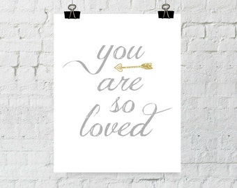 You Are So Loved, Nursery Wall Art, Wall Art Prints, Typography, Home Decor, Instant Download, ADOPTION FUNDRAISER