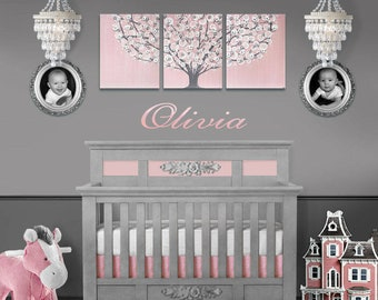 Baby Girl Nursery Wall Art, Pink and Gray Tree Painting on Large Canvas Triptych - 50x20