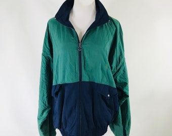 Vintage 80s 90s Bill Blass Colorblock Green Blue Windbreaker Track Jacket Size Medium