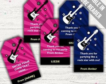Rock Star Favor Tags (Rock Star Thank You Tags). Printable PDF (EDITABLE). Instant Download.