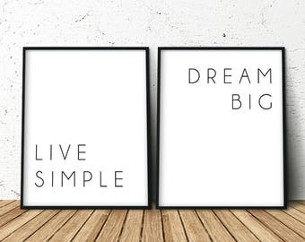 Art Print Above Bed, Dream Big, Art Above the Bed, Set of 2 Prints, Dorm Room, Above Bed Signs, Above Bed Decor, Items Most Sold