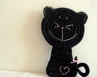 Black Cat Crochet Coaster - Black Cat Applique - Kitty Coaster - Animal Coaster - Stocking Stuffer - Cat Lover Gift - Christmas Gift for Her