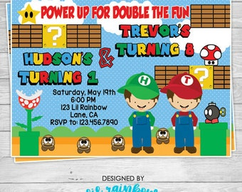 369-02: DIY - Mario Bros 2 Inspired Party Invitation Or Thank You Card