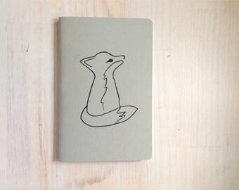 Large Notebook: Fox, Grey, Hand Carved, Wedding, Favor, Journal, For Him, For Her, Jotter, Unique, Gift, Poem Book, Journaling, Blank