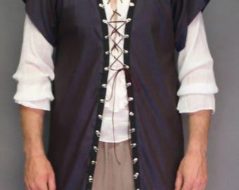 Medieval; Vest; navy blue; neck ring detail; Vest019