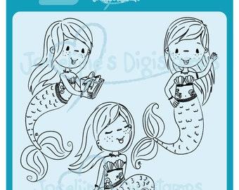 Emmy Mermaid Set • 300 PPI Digital Stamp • Digistamp • Instant Download
