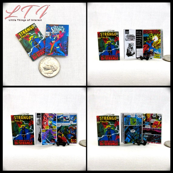 2 Miniature DOCTOR STRANGE COMIC Dollhouse Readable Book Comic 1:12 Scale Marvel Avengers Super Hero Doctor Stephen Vincent Strange