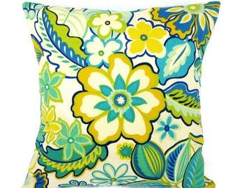 Outdoor Floral Pillow Cover Retro Decorative Yellow Lime Kiwi Teal Jade Turquoise Aqua Blue Ivory Botanical 16x16 18x18 12x16 12x18 Zipper