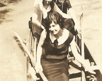 "Vintage Photo ""Against The Tide"" Pretty Girls In A Rowboat 1920's Sepia Snapshot Found Vernacular Photograph"