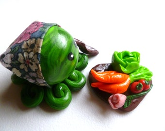 Little Octopus Mini Marble Friend Gardener with Hand Sculpted Veggies and Flower in Lime and Green Swirl