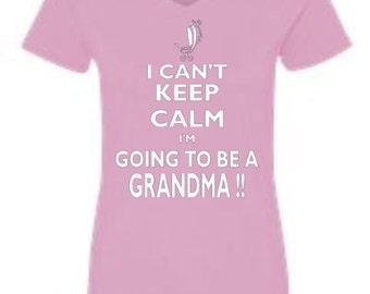 Baby Announcement, Grandma, Grandma T-Shirt, V Neck T-Shirts, Keep Calm Grandma, Silkscreen, Christmas Gifts, Gifts for Grandma, Nana Gifts