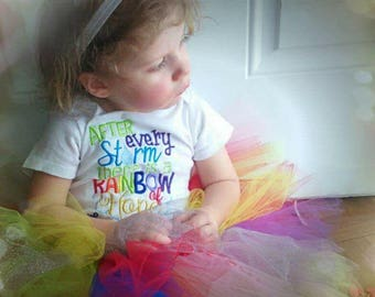 After every Storm there is a Rainbow of Hope, Newborn Baby Clothes, Take Home Outfit, Baby Girl or Boy Onesie