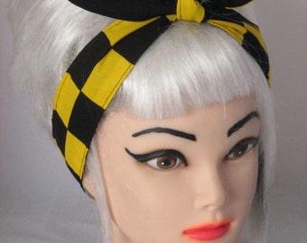 Rockabilly Psychobilly  Headband YELLOW / BLACK  checkered print  Pinup Vintage Retro Style